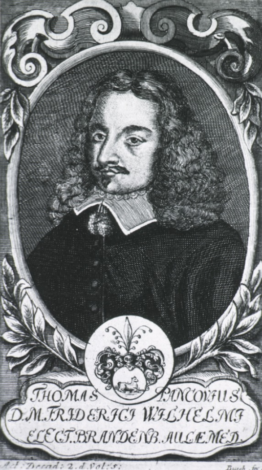 <p>Head and shoulders, left pose, in oval with decorative border; coat-of-arms.</p>