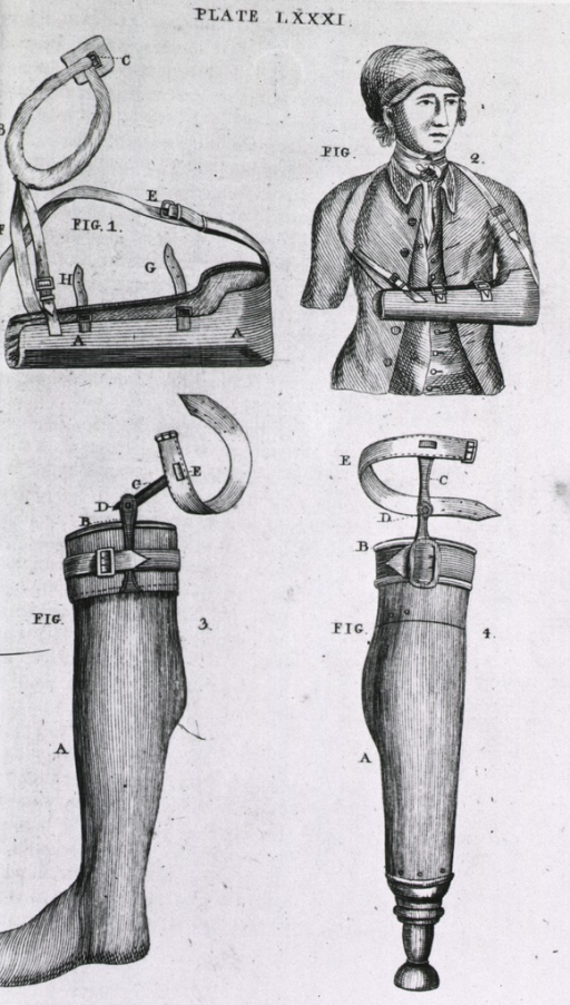 <p>Two types of artificial legs, one with a peg, the other with a foot; an arm sling to immobilize a broken arm.</p>