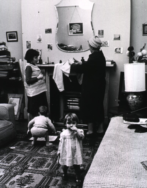 <p>Interior view: an expectant mother is listening to a health worker; they are standing before a fireplace; two young children are standing nearby.</p>