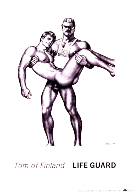 <p>Black and white poster, with the only illustration being a reproduction of a Tom of Finland drawing of a male life guard in a baseball cap holding a naked male.  The drawing is signed &quot;Tom 77&quot; in the lower right corner.  The logo of Deutsche AIDS-Hilfe appears in the lowermost right corner.</p>