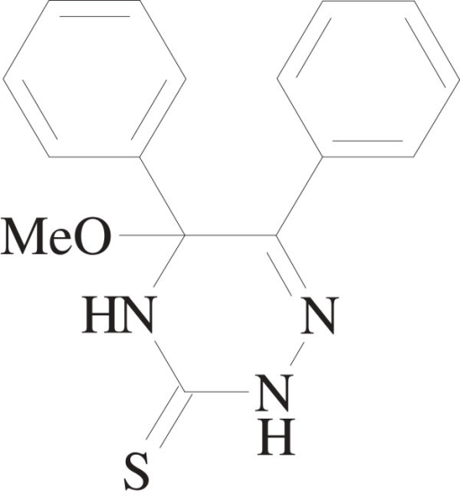 Chemical structure of 5-Methoxy-5,6-diphenyl-4,5-dihydro-2H-1,2,4-triazine-3-thione.