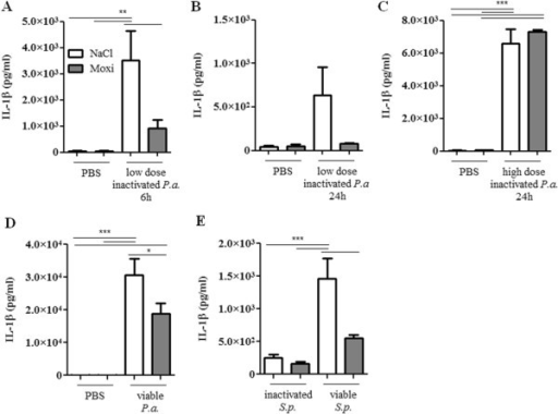 Effect of moxifloxacin on IL-1β concentrations in lungs of infected mice. IL-1β concentrations were measured in lungs of moxifloxacin- and saline-treated mice 6 or 24 h post intranasal infection with heat-inactivated P. aeruginosa(A/B/C), viable P. aeruginosa(D), and heat-inactivated or viable S. pneumoniae(E). Data are shown as mean ± SEM. Bars indicate significant differences of *p < 0.05, **p < 0.01, and ***p < 0.001 (n ≥ 5 for each group).