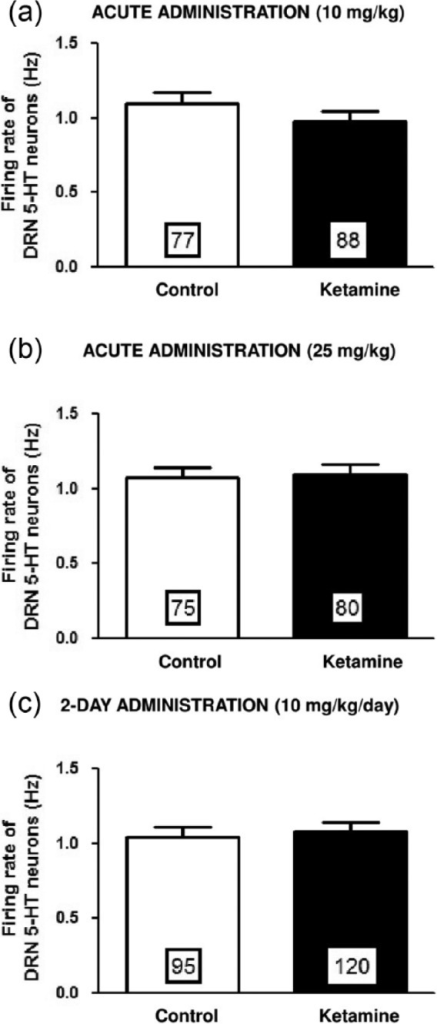 Effects of acute and two-day administration of ketamine on DRN 5-HT neuron firing. Mean (± SEM) of the firing rate of 5-HT neurons following acute (a) and (b) and two-day (c) administration of vehicle or ketamine at a dose of 10 mg/kg/day (a) and (c) and 25 mg/kg/day (b). Numbers in the histograms correspond to the number of neurons recorded (5–6 rats tested per group).