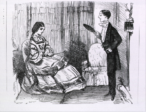 <p>In a parlor setting a man is standing before a fireplace and a woman is sitting in a chair, they glare at each other with stern countenances.</p>