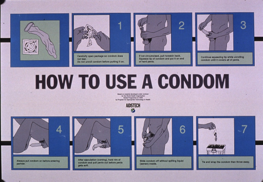 <p>Predominantly white and blue poster with black and gray lettering.  Visual images are illustrations of each step involved with using a condom, from opening the package to disposal.  Title, note, and publisher information in center of poster.</p>