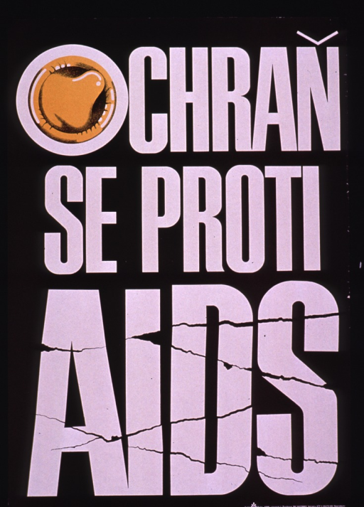 <p>Predominantly black poster with white lettering.  Title dominates poster.  Initial title letter &quot;o&quot; includes an illustration of a fresh, orange condom.  The font for the word AIDS is suggestive of cracked glass.  Title deals with protection from AIDS.  Publisher information in lower right corner.</p>