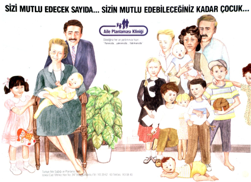 <p>Multicolor poster with black and blue lettering.  Title at top of poster.  Visual image consists of two illustrations.  Illustration on left side of poster features a calm family of four.  Illustration on right side shows a family of eleven.  Title text addresses the luck of the two families.  Logo for family planning clinic below title.  Publisher information at bottom of poster.</p>