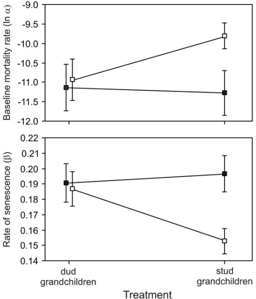 Mean baseline mortality rate (A) and rate of senescence (B) of replicate cages of males by treatment and milieu. Milieu are single sex (open circles) and mixed sex (closed circles). Error bars are ± SE.
