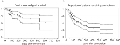 Kaplan–Meier estimate of death-censored graft survival (A) and of patients remaining on sirolimus therapy (B) during 2 years after conversion. Survival estimates are shown with 95% confidence bands (dotted lines). The population at risk at different time points during follow-up is indicated on the plot.