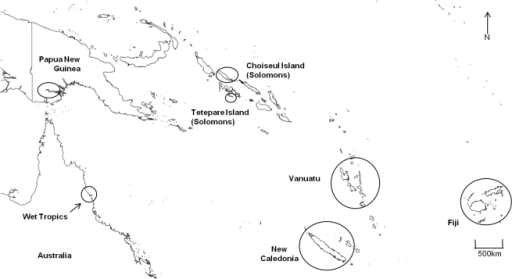 Map of the West Pacific freshwater fish communities used in analyses.Map indicating the Wet Tropics of north-eastern Australia, in relation to Papua New Guinea and West Pacific island groups. Open circles denote regions were freshwater fish communities were included for analyses.