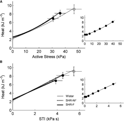 Steady‐state isometric heat‐stress and heat‐STI relations. (A) Average relations between heat per twitch and active stress. Isometric activation heat was predicted from the y‐intercept of the isometric heat‐stress relation. (B) Average relations between heat per twitch and stress‐time integral (STI). There were no statistical differences in these relations among the rat groups. Data (mean ± SE) at Lo were superimposed on appropriate panels to demonstrate variability of each average regression line. The insets show data from a representative failing spontaneously hypertensive rat (SHR‐F) trabecula.