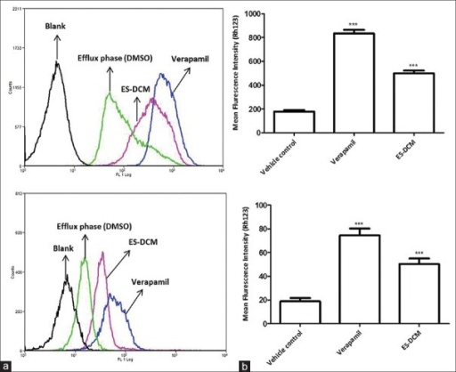 MDR-1 (ABC-B1) inhibitory effects of enriched fraction of Elephantopus scaber (ES-DCM) in human epithelial cancer cells. HeLa (a) and Caco-2 (b) cells were incubated with rhodamine 123 (Rho-123) in Dulbecco's modified eagle medium with 2% fetal bovine serum for 30 min at 37°C (accumulation phase), after which excess dye was washed and cells were re-incubated with vehicle control (dimethyl sulfoxide), verapamil, and ES-DCM for 60 min at 37°C (efflux phase). The mean cellular Rho-123 fluorescence in the efflux phase was analyzed by flow cytometry. Error bars represent ± standard error of the mean; n = 3, ***P < 0.001