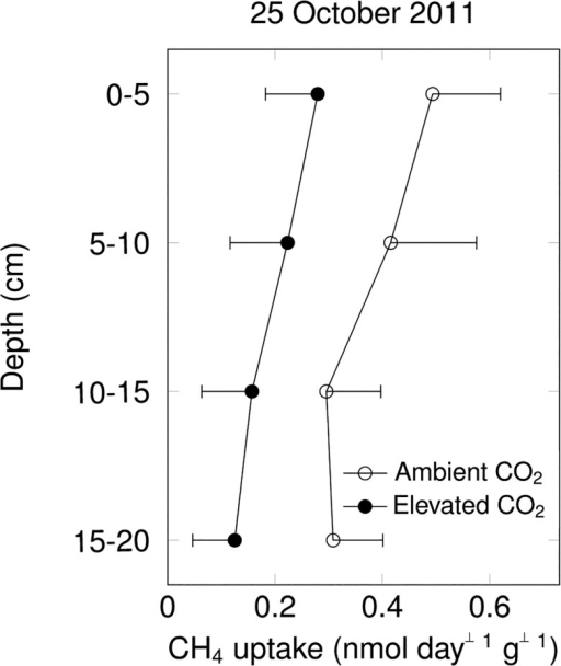 Net CH4 uptake rates of sieved field-moist soil incubated at 20°C in the laboratory (mean ± s.e., by 5cm soil layer; n = 3 per CO2 treatment; effects of elevated CO2 were not statistically significant).