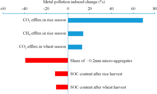 Metal induced changes (%) in soil respiration, micro-aggregate size fractions and topsoil organic carbon storage by comparing polluted plots to background plots.All the changes are significant at p < 0.05.