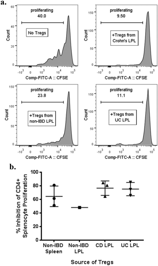 "LPL Tregs from IBD patients are suppressive in vitro.CD25+, CD127-, CD4+ LPL Tregs homogenized from the surgically resected colons of patients with or without IBD were sorted and added at a 1:2 ratio to CFSE-labeled splenocytes from a single donor without IBD or other inflammatory or malignant conditions. As a control, autologous Tregs were similarly sorted from the splenocytes as well. Cells were cocultured in the presence of soluble anti-CD3 (OKT3) for 4 days and then CFSE dilution by CD4+ splenocytes was quantified on a flow cytometer. Representative histograms of CFSE dilution by these CD4+ splenocytes in the absence or presence of Tregs from different donors are shown (a). The percent that CD4+ splenocyte CFSE dilution was diminished by the presence of LPL Tregs from the indicated donors is shown (b). Each dot is a unique patient, except ""Non-IBD Spleen"", for which Tregs from the same spleen donor were isolated de novo on each of three different days to serve as a control. CD = Crohn's disease. UC = ulcerative colitis. LPL = lamina propria lymphocytes."