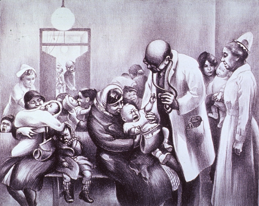 <p>Interior view: A physician and a nurse attend to a crying baby in the crowded waiting room of a children's clinic. In the background, another nurse offers comfort.</p>