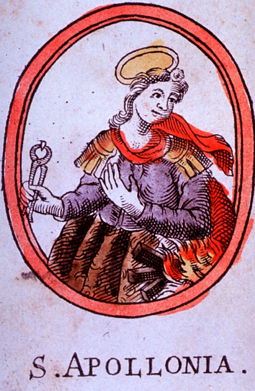 <p>Half-length, left pose, head turned to the right; holding pincers with tooth in right hand; fire under left elbow; in oval.</p>