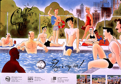 <p>Multicolor poster with black lettering.  Visual image is an illustration of people in and around a swimming pool.  Initial title phrase superimposed on upper left corner of illustration; remaining title phrase near bottom.  An illustration of a condom also appears by the final title phrase.  Publisher and sponsor information at bottom of poster, along with three smaller illustrations depicting men socializing in various settings.</p>