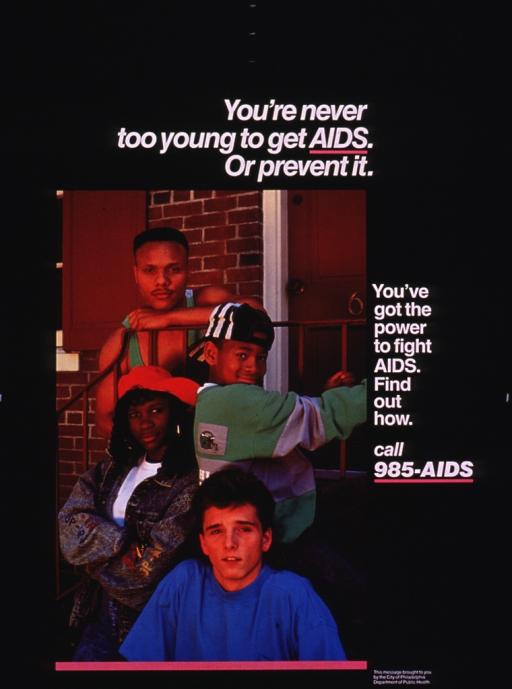 <p>Predominantly black poster with white lettering.  Title at top of poster.  Visual image is a color photo reproduction featuring a diverse group of teens and young adults.  Caption to right of photo.  Publisher information in lower right corner.</p>