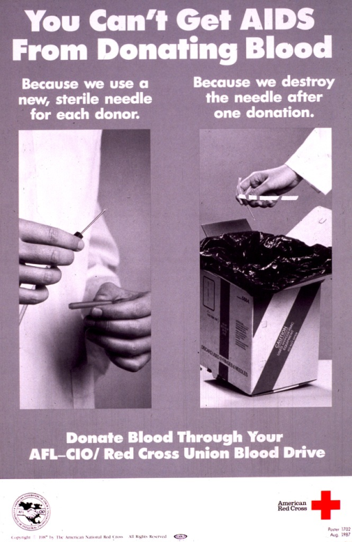 <p>Gray poster with white and black lettering, illustrated with two black and white photographs showing the use and disposal of one needle.  At the bottom are the logos of both the AFL-CIO and the American Red Cross, the latter in red.</p>