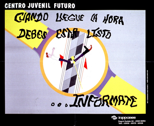 <p>A gray background with a wide black border and white or black lettering. Most of the poster is an illustration of a wrist watch with two individuals representing the hands of the watch. The initial part of the title is above the illustration, while the subtitle is part of the illustration. At the bottom is the organization's address and phone number.</p>