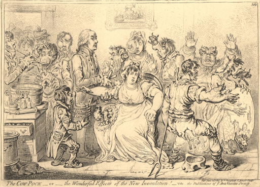 <p>A satirical view of a vaccine institution. Patients are shown either in the process of receiving the vaccine or immediately after being vaccinated. In the center of the print a woman is shown sitting while a doctor gashes her arm with a knife. The patients who have already been administered the vaccine have cow parts or horns issuing from various parts of their bodies. On the back wall hangs a painting of a cow on a pedestal to which a group of kneeling people pay hommage.</p>