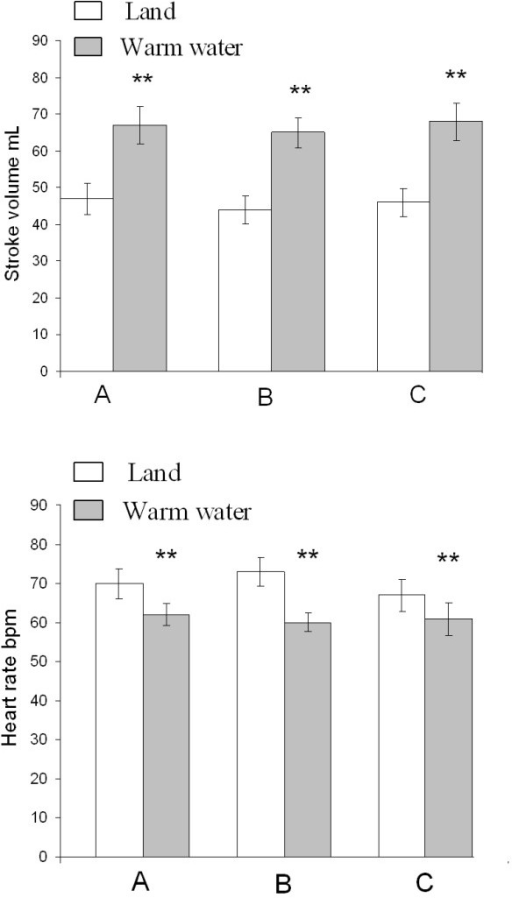 Echocardiographic data between three sessions on land and during warm water immersion. 4A. Effect of warm water immersion with respect to stroke volume. 4B. Effect of warm water immersion with respect to heart rate. A: Baseline; B: After 8 weeks of control period without changes in daily lifestyle; C: After 8 weeks of hydrotherapy twice weekly. **p < 0.01, mean ± SEM (land vs. warm water immersion).