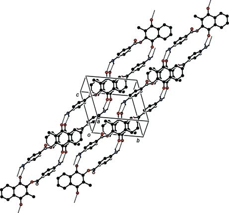 A view of the crystal packing in the structure of I, showing the presence of ribbons formed by H–bonded molecules. H–bonds are denoted by dashed lines.