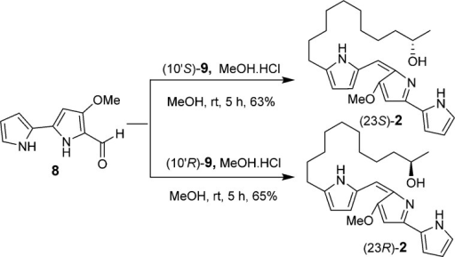Synthesis of (S)- and (R)-23-Hydroxyundecylprodiginines((23S)-2 and (23R)-2)