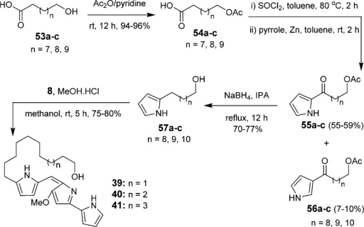 Synthesis of Hydroxyundecylprodiginines 39–41 Containing a Terminal Hydroxyl Group at the Alkyl Chain