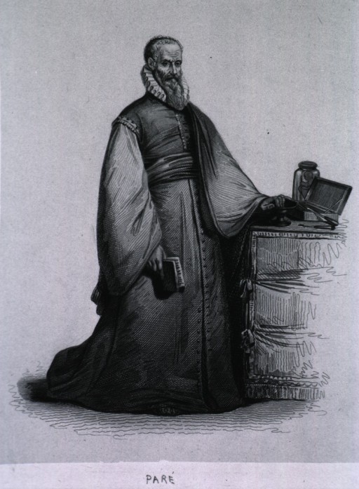 <p>Standing, full length, one hand on table, right hand holding book; wearing long gown.</p>