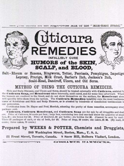 <p>Cuticura remedies...Toronto Canada.  Advertisement showing two heads with skin and hair afflictions.</p>