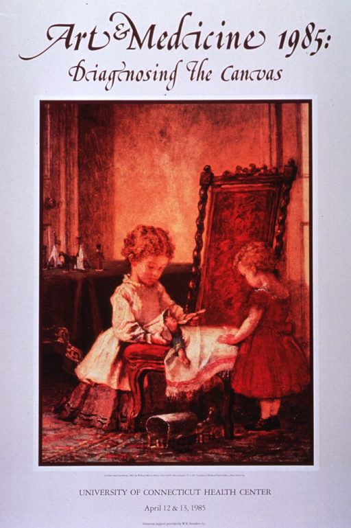 <p>Cream poster with burgundy and black lettering announcing conference, Apr. 1985.  Central image on poster is a reproduction of painting named in caption.  It shows two young children tending to a doll.  The doll is lying on a chair, covered by a blanket, and wearing a tri-corner hat.  The child on the left feeds the doll.  A toy wagon sits on the floor.  Title appears in burgundy at top of poster.  Remaining text in black at bottom of poster.</p>
