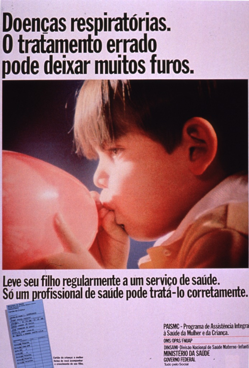 <p>Predominantly white poster with black lettering.  Title at top of poster.  Visual image is a color photo reproduction of a young boy blowing up a balloon.  Caption below photo encourages taking children to the health center regularly so a health professional can treat them correctly.  Illustration of a medical record in lower left corner; publisher information in lower right corner.</p>