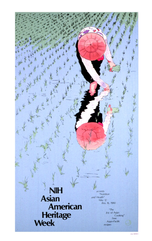 <p>The poster shows a woman planting rice in a rice paddy, her feet covered in water.  She is wearing black pants, a white shirt with a pink and purple print on it, and a pink hat.  The woman is leaning down planting the rice, so her face cannot be seen.  The reflection of her body can be seen on the water.</p>