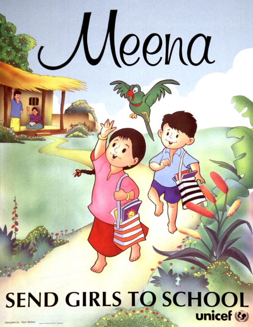 <p>Multicolor poster with black lettering.  Title at top of poster.  Visual image is an illustration of a young girl and boy leaving their home to go to school.  Both children carry book bags.  The girl waves to her parents, who are near the house in the background.  Caption near bottom of poster.  Publisher name and logo in lower right corner.</p>