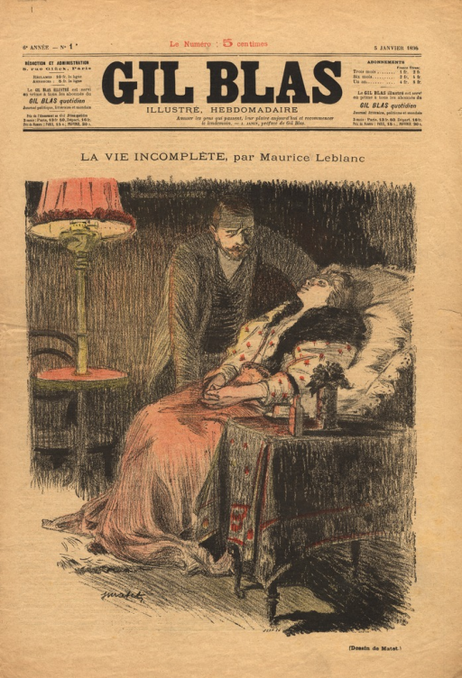 <p>Illustration of a short story by Leblanc about the death of a married woman.  The woman reclines in a chair, covered with a blanket, and stares upward.  Her husband stands next to the chair and hovers over the woman.</p>