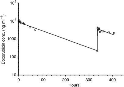 Plasma doxorubicin concentration vs time plot in patient 1 after receiving intravenous doxorubicin at 20 mg m−2 over 60 min in cycle 1. A second intravenous doxorubicin dose at 8 mg m−2 was started 14 days (336 h) after the first dose in combination with valspodar at a dosing rate of 1.42 mg kg−1 h−1 over 2 h, followed by 0.42 mg kg−1 h−1 over an additional 70 h. Symbols represent measured plasma doxorubicin concentrations, and the solid line represents the best fit from the maximum likelihood estimation using ADAPT II software.