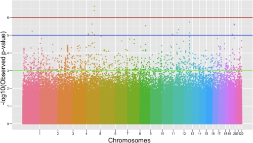"Manhattan plot of the quantitative trait genome wide association analysis.Manhattan plot of the p-values (-Log10(Observed p-value)) from the QT (right hippocampus) genome-wide association analysis. The spacing between the SNPs does not reflect the actual distances between SNPs in the genome. Each color identifies an autosomal chromosome (from chromosome 1 to chromosome 22). The horizontal lines display the cutoffs for 3 significance levels: green line for mild significance (10−3<p<10−5), blue line for high significance (10−5<p<10−6) and red line for genome-wide significance level (p<10−6). Different symbols reflect the function of the SNPs as detailed here: ""▴"" intronic, ""▪"" 3′UTR or downstream region, ""+"" 5′UTR or upstream region, ""⊠"" synonymous coding, ""░"" non-synonymous coding, ""•"" intergenic."