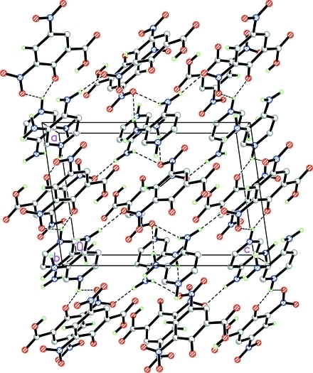 The crystal packing of the title compound, showing a hydrogen-bonded (dashed lines) network. H atoms not involved in the interactions have been omitted for clarity.