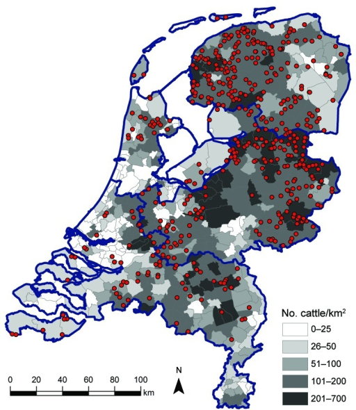 Geographic distribution of dairy herds from which 1–4 animals were sampled (red dots) in study of Schmallenberg virus seroprevalence, the Netherlands, 2011–2012. Cattle density is indicated by gray shading; blue outlines denote regional borders.