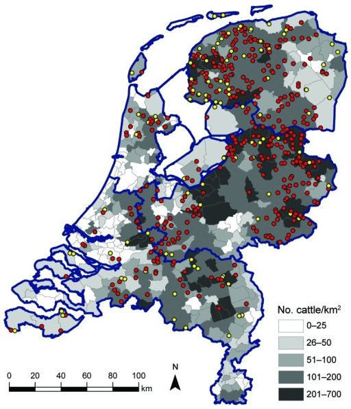 Geographic distribution of dairy herds sampled in study of Schmallenberg virus seroprevalence with positive results (>1 animals sampled tested seropositive; red dots) and negative results (all animals sampled tested seronegative; yellow dots), the Netherlands, 2011–2012. Cattle density is indicated by gray shading; blue outlines denote regional borders.