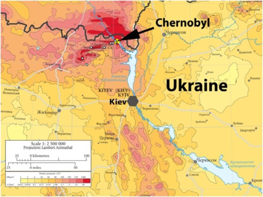 Map Of Background Radiation µSvh In The Chernobyl R Openi - Radiation map in us