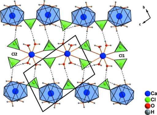 Formation of sheets and inter­connection of chains via hydrogen bonds in Ca(ClO4)2·4H2O. Only the strongest hydrogen bonds are shown, represented by dashed lines.