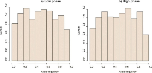 Distribution of allele frequencies in the last generation of the historical population for a low (a) and a high correlation of LD phase (b). The bounds are 0.01 and 0.99. The plots are the result of one replicate.