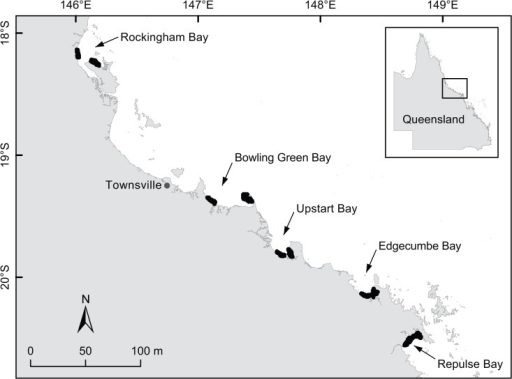 Study area.Spatial distribution of longline and gill-net sampling (indicated in black) within the five study bays along tropical north Queensland.