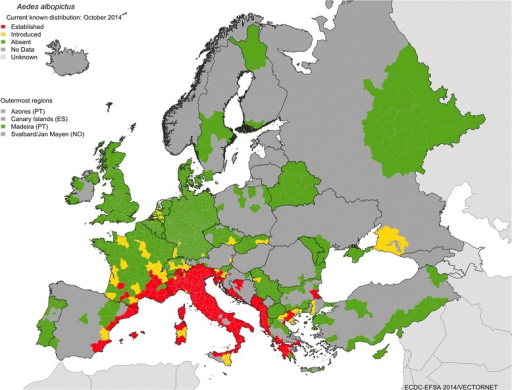 Current known distribution of Aedes albopictus as of October 2014. ECDC VBORNET www.ecdc.europa.eu/vbornet