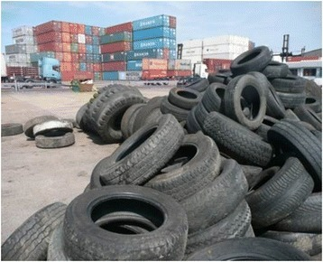 Photograph of used tyres at a seaport