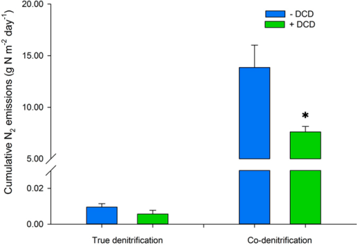 "Effect of the nitrification inhibitor DCD on cumulative N2 emissions from true denitrification (N2TRUE) and co-denitrification (N2CO) (g N m-2) over the first month following urine deposition.Significant differences between ""+DCD"" and ""−DCD"" for each process are marked with *(P < 0.05). Error bar is the standard error of the mean (n = 4)."