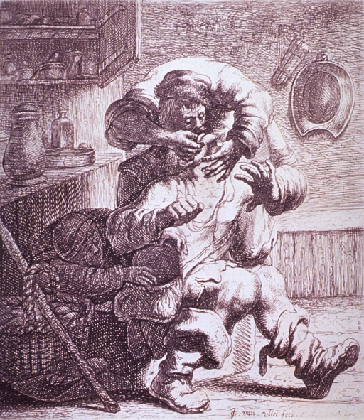 <p>Interior view: A dentist is working on a patient's teeth while another person is stealthily reaching into a bag hanging at the patient's waist.</p>